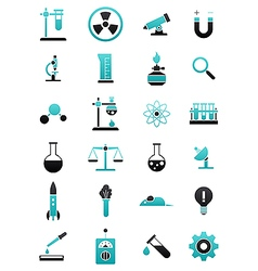 Turquoise black science icons set vector