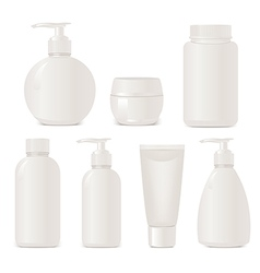 White no name set of plastic cosmetic containers vector