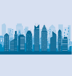 buildings and skyscrapers blue background vector image vector image