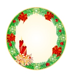 Button circular christmas spruce vector