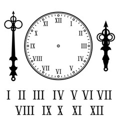 Clock with roman numerals with numbers hour and vector