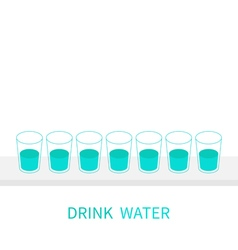 Drink eight glasses of water infographic glasses vector