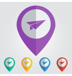 flat color pins with paper plane icon vector image