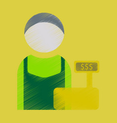 Flat icon in shading style cashier vector