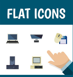 Flat icon laptop set of pc processor computer vector