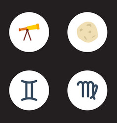 flat icons comet optics virgin and other vector image