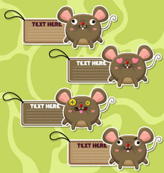 Four cute cartoon rats stickers vector