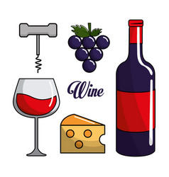 Glass bottle of wine grape cheese and take out vector