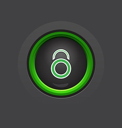Glossy dark circle lock button vector