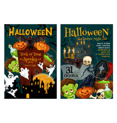 halloween ghost and pumpkin night party poster vector image