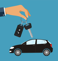 Hand with car keys concept rent or buying car vector
