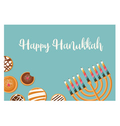 Hanukkah doughnut and menora jewish holiday vector
