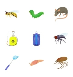 Harmful insects icons set cartoon style vector