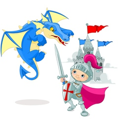 Knight fighting a dragon vector