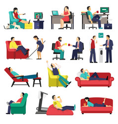 lazy and tired people set vector image vector image