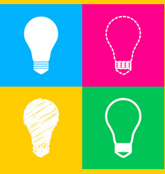 light lamp sign four styles of icon on four color vector image