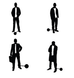 man silhouette with prision ball in black vector image vector image