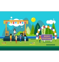 Music festival outdoor Landscape vector image vector image
