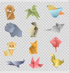 origami paper cartoon animals birds and fishes vector image vector image