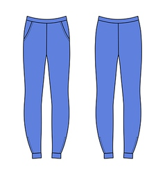 Outlined sweatpants isolated on white front back vector
