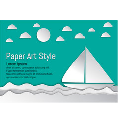 paper art style sea and waves with sailboat and vector image