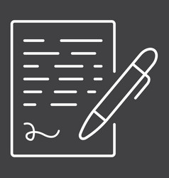 Pen signing line icon business contract signature vector