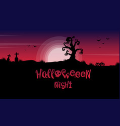 Scary landscape in grave for halloween vector