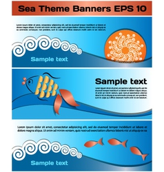 Sea theme banners vector image vector image