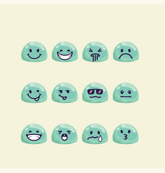 Set of jelly drop head with emotion signs vector