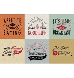 Set of vintage food typographic quotes vector