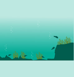 Silhouette of underwater with green sea landscape vector