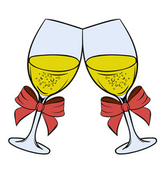 Two glasses of champagne icon cartoon vector
