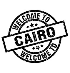Welcome to cairo black stamp vector