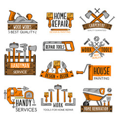 work tool sketch emblem set for home repair design vector image