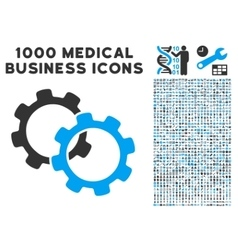 Gears icon with 1000 medical business symbols vector