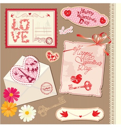 Set of vintage valentines day postcards vector