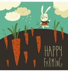 Little rabbit and carrot field vector