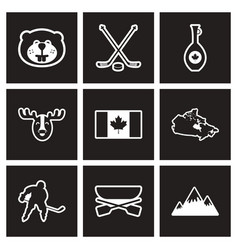 assembly stylish black and white icons canada vector image