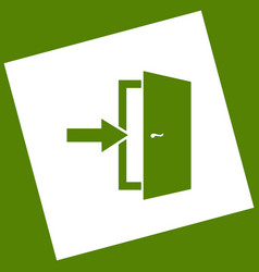 Door exit sign white icon obtained as a vector
