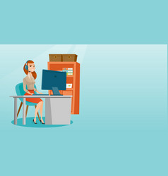 Business woman with headset working at office vector