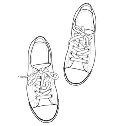 Outline sneakers vector image