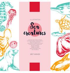 Sea creatures - color drawn vintage banner vector