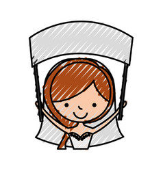 Cute wife with banner avatar character vector