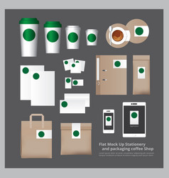 Flat mock up stationery and packaging coffee shop vector