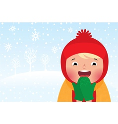 Kid enjoys the snow and winter vector