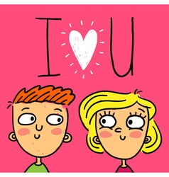 Cute doodle greeting card with happy couple vector