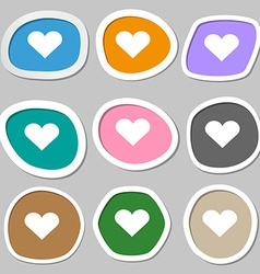 Heart love icon symbols multicolored paper vector