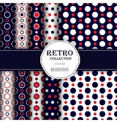 Collection of seamless patterns with polka dot vector