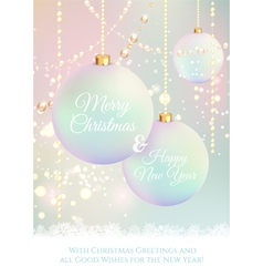 Christmas card with sparkles and balls vector image