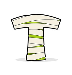 Letter t mummy typography icon in bandages vector